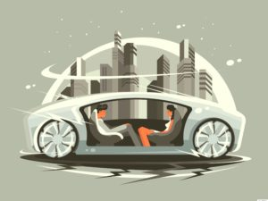 passengers are enjoying their work by connected cars